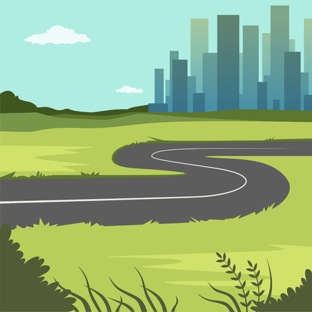 Summer green landscape with road and city buildings, road through the countryside into the city, nature background vector illustration