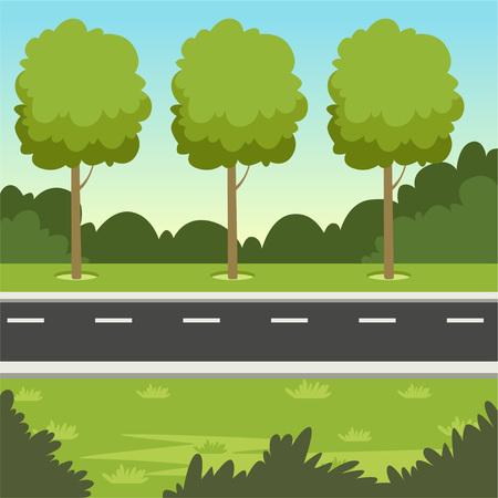 道路や木々と夏の緑の風景、自然の背景ベクトルイラスト