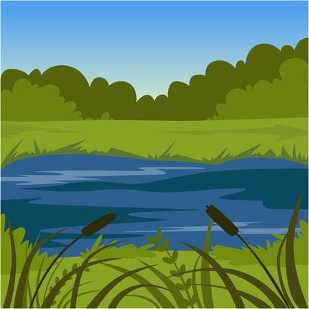 Green summer landscape with lake, nature background vector illustration