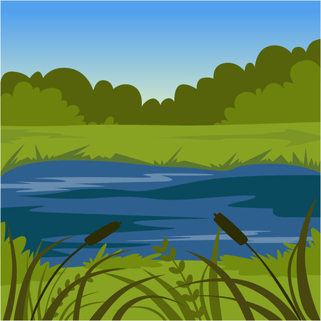 Paisaje de verano verde con lago, ilustración de vector de fondo de naturaleza