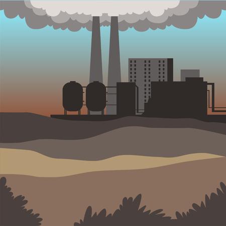 Industrial buildings, modern city landscape, contaminated environment background vector illustration Illustration