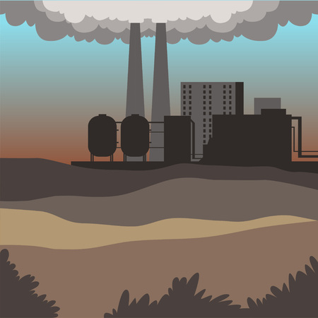 Industrial buildings, modern city landscape, contaminated environment background vector illustration Vectores