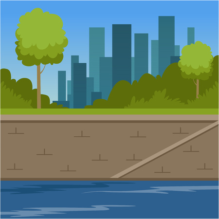 City buildings and river bank, urban cityscape, summer background vector illustration, flat style