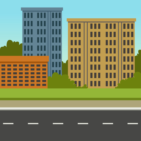 City street with road and city buildings, summer landscape, modern urban background vector illustration Vettoriali