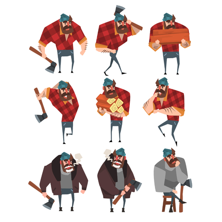 Cartoon set of lumberjack in different actions. Woodcutter with axe. Flat vector illustration isolated on white.