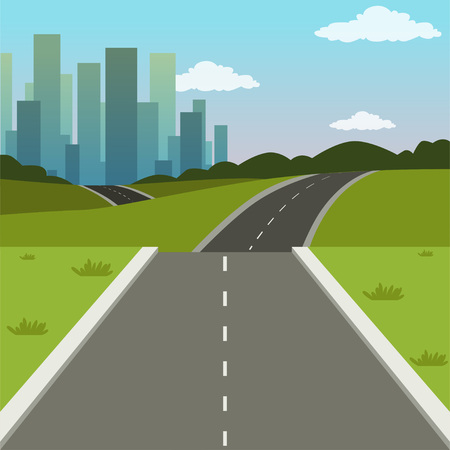 Summer green landscape with road and city buildings, road to the city, nature background vector illustration
