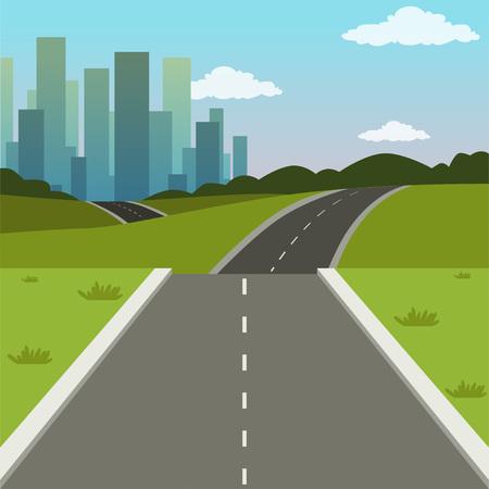 Grüne Landschaft des Sommers mit Straßen- und Stadtgebäuden, Straße zur Stadt, Naturhintergrundvektorillustration Vektorgrafik
