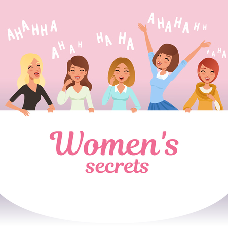 Young pretty girls loudly laughing. Womens secrets concept. Cartoon female characters with smiling facial expressions. Emotional people. Hahaha text. Pink background. Colorful flat vector design.