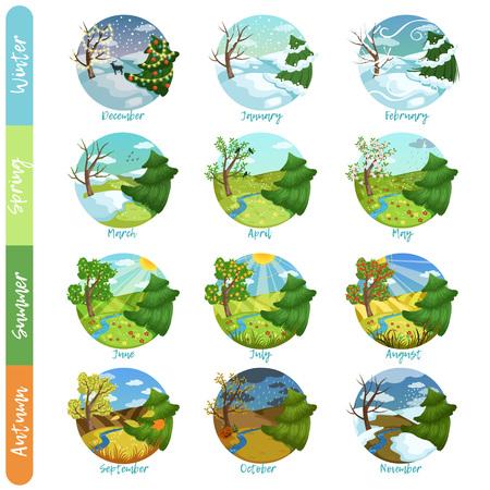 Dodici mesi dell'anno impostato, quattro stagioni natura paesaggio inverno, primavera, estate, autunno illustrazioni vettoriali isolato su uno sfondo bianco Vettoriali