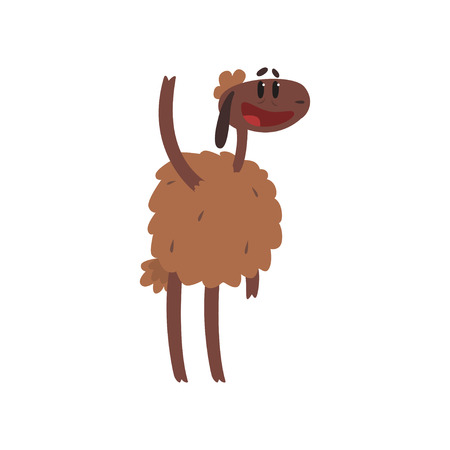 Funny brown sheep character standing with raised leg cartoon vector illustration on a white background