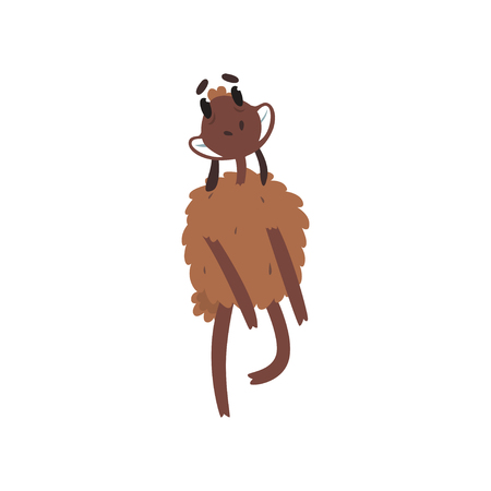 Funny happy brown sheep character dancing cartoon vector illustration on a white background