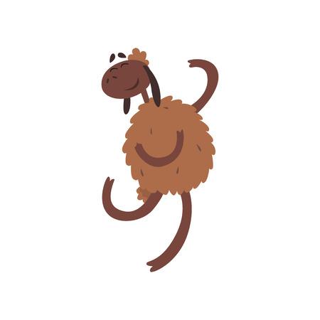 Funny happy sheep character jumping cartoon vector illustration Illustration