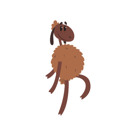 Funny sheep character walking on two legs cartoon vector illustration on a white background