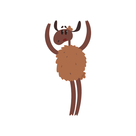 Funny brown sheep character standing on two legs with raised hands cartoon vector illustration