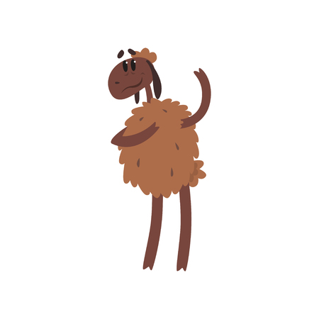 Cute funny sheep character standing on two legs cartoon vector illustration on a white background Illustration