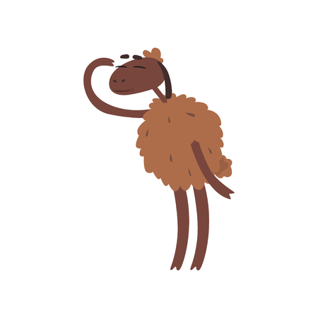 Funny sheep character standing on two legs and looking into the distance cartoon vector illustration on a white background