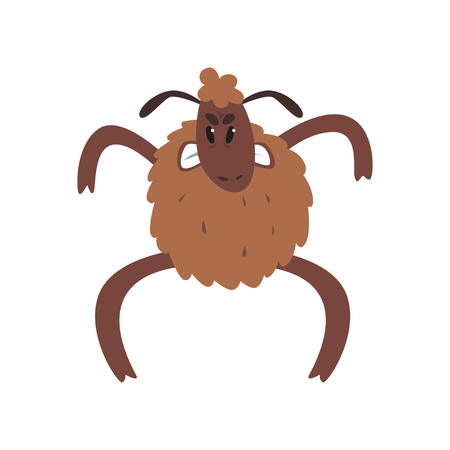 Angry funny sheep character standing on two legs cartoon vector illustration Illustration