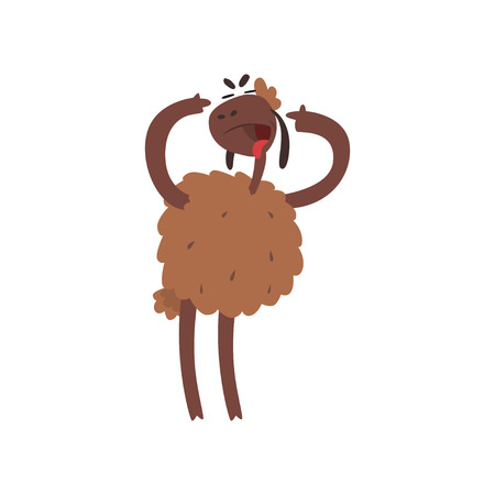 Funny sheep character standing on two legs with open mouth cartoon vector illustration Illustration