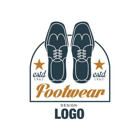 Footwear design, vintage badge for shoemaker, shoe shop and shoes repair vector Illustration