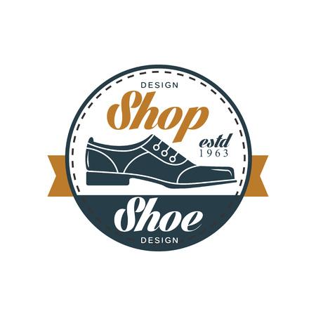 Shoe shop vintage round badge for shoemaker, shoe shop and shoes repair vector Illustration