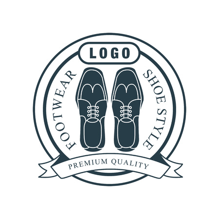 Footwear, shoe style, premium quality vintage badge for shoemaker, shoe shop and shoes repair vector Illustration