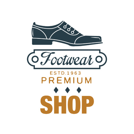 Footwear, premium shop logo, estd 1963 vintage badge for shoemaker, shoe shop and shoes repair vector Illustration on a white background