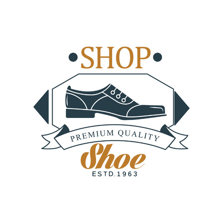 Shoe shop, premium quality, estd 1963 vintage badge for footwear brand, shoemaker or shoes repair vector Illustration on a white background