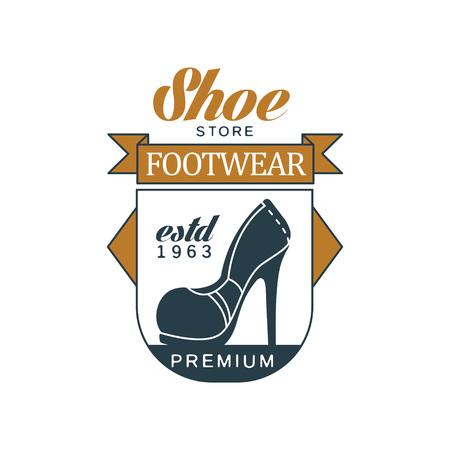Shoe store, footwear, estd 1963 vintage badge for shoemaker, shoe shop and shoes repair vector Illustration on a white background