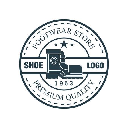 Shoe, footwear store premium quality, estd 1963 vintage round badge for footwear brand, shoemaker or shoes repair vector Illustration Ilustracja