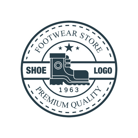 Shoe, footwear store premium quality, estd 1963 vintage round badge for footwear brand, shoemaker or shoes repair vector Illustration Illustration