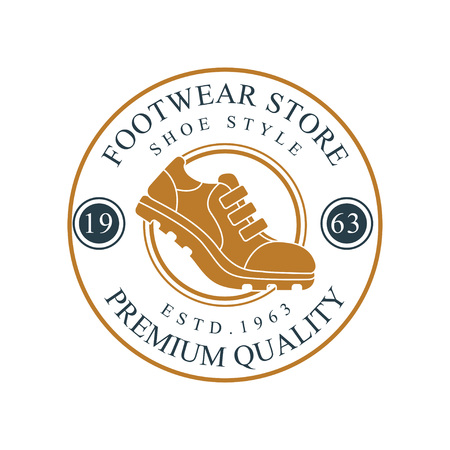 Footwear store logo, premium quality, estd 1963 vintage round badge for footwear brand. Иллюстрация