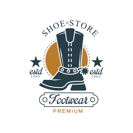 Shoe store, footwear premium, estd 1963, vintage badge for company identity, brand, shoemaker or shoes repair vector Illustration on a white background Ilustracja