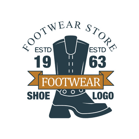 Footwear store, shoe icon , estd 1963, vintage badge for company identity, brand, shoemaker or shoes repair vector Illustration on a white background