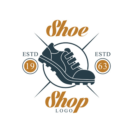 Shoe shop logo, estd 1963, vintage badge for company identity, footwear brand, shoemaker or shoes repair vector Illustration on a white background