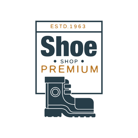 Shoe shop premium logo, estd 1963 vintage badge for footwear brand, shoemaker or shoes repair vector Illustration on a white background Ilustracja