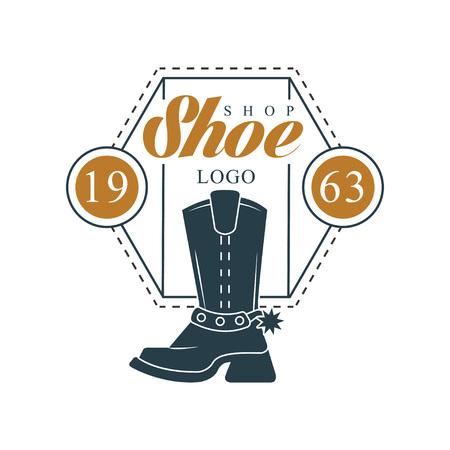 Shoe shop logo, estd 1963 vintage badge for footwear brand, shoemaker or shoes repair vector Illustration on a white background Ilustracja