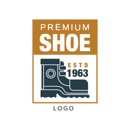 Premium shoe logo, estd 1963 badge for footwear brand, shoemaker or shoes repair vector Illustration on a white background