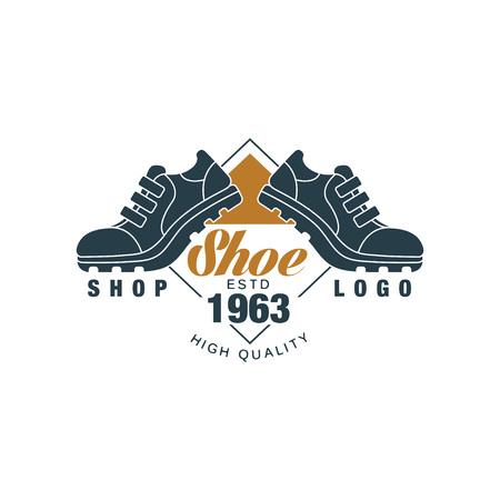 Shoe shop logo, estd 1963 vintage badge for footwear brand, shoemaker or shoes repair vector Illustration on a white background Illustration