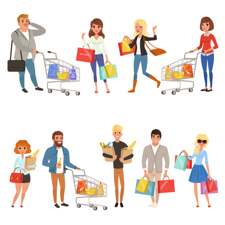 People shopping set. Young women and men, couples with shopping carts and paper bags with food. Collection of cartoon flat characters in store or supermarket. Vector illustrations isolated on white.