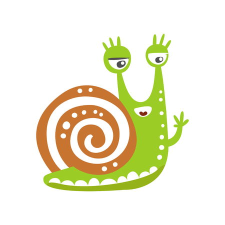 Funny snail character waving its hand vector illustration Ilustrace