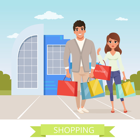 Smiling man and woman shopping flat cartoon characters vector illustration