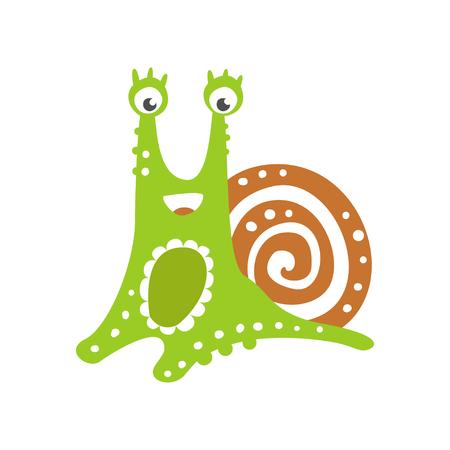 面白いカタツムリのキャラクター、かわいい緑の軟体動物手描きベクトル描き下ろし白い背景にイラスト