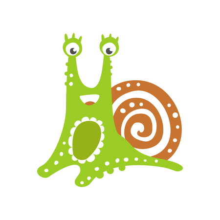 Funny snail character, cute green mollusk hand drawn vector Illustration on a white background