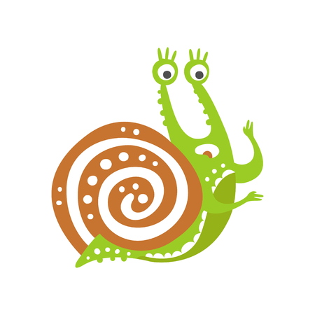 Surprised funny snail character, cute green mollusk hand drawn vector Illustration on a white background