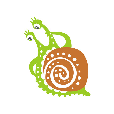 Funny puzzled snail character, cute green mollusk hand drawn vector Illustration on a white background