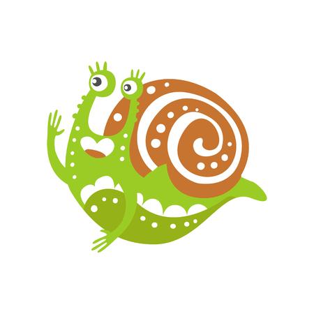 面白いカタツムリのキャラクターが手を上げ、白い背景に可愛い緑色の軟体動物の手描きベクトルイラスト
