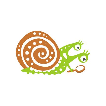 虫眼鏡を通して見る面白いカタツムリのキャラクター、かわいい緑の軟体動物の手描きベクトルイラストは白い背景に