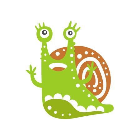 手を上げる面白いカタツムリのキャラクター、白い背景に可愛い緑色の軟体動物の手描きベクトルイラスト
