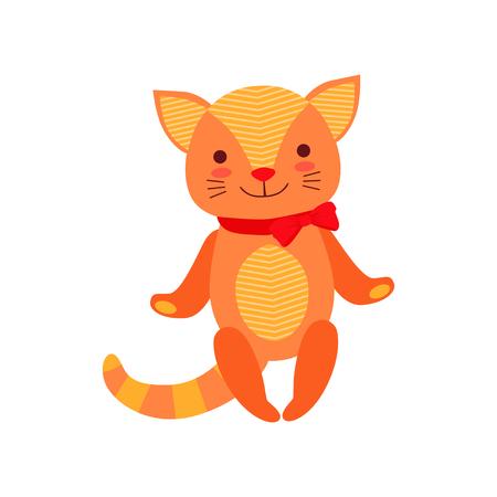 Cute soft kitten plush toy, stuffed cartoon animal vector Illustration on a white background