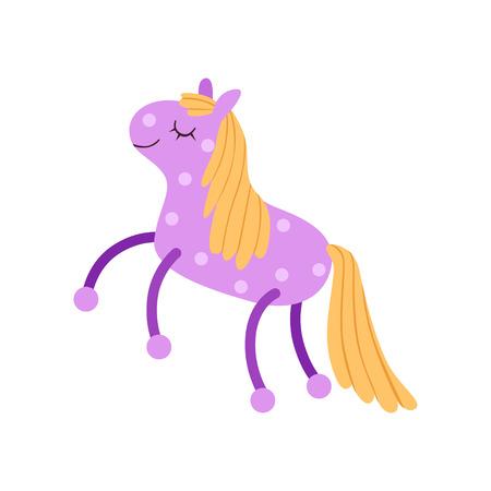 Cute soft purple horse plush toy, stuffed cartoon animal vector Illustration on a white background Stock fotó - 94137973